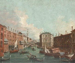 Vessels before the Rialto Bridge, Venice