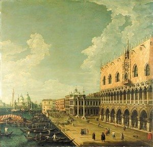 (Giovanni Antonio Canal) Canaletto - The Doge's Palace, Venice, and the Molo, looking west towards the Punta della Dogana and the Church of Santa Maria della Salute