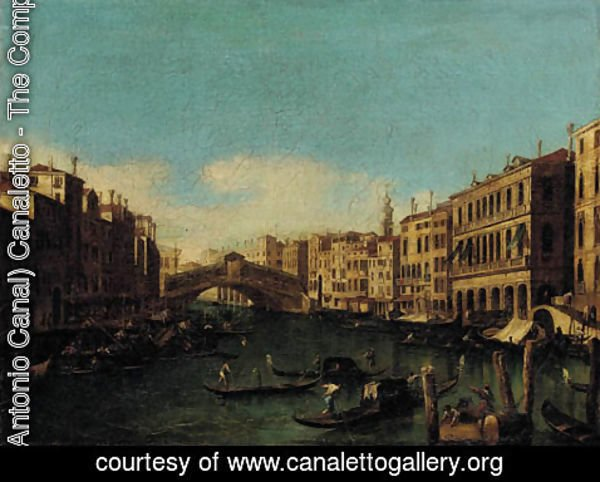 (Giovanni Antonio Canal) Canaletto - The Rialto Bridge, looking east from Palazzo Loredan