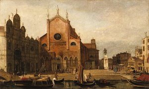 Views of Venice SS. Giovanni e Paolo and the Monument to Bartolommeo Colleoni seen from across the Rio dei Mendicanti
