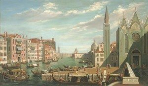 (Giovanni Antonio Canal) Canaletto - A busy day on the Grand Canal, Venice
