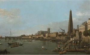 (Giovanni Antonio Canal) Canaletto - London, A View Of The Thames, Looking Towards Westminster From Near The York Water Gate