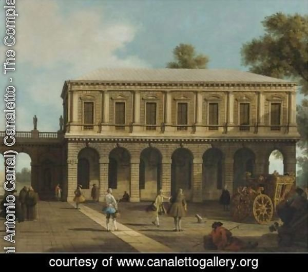 (Giovanni Antonio Canal) Canaletto - A Capriccio Of The Prisons Of San Marco Set In A Piazza With A Coach And Townsfolk
