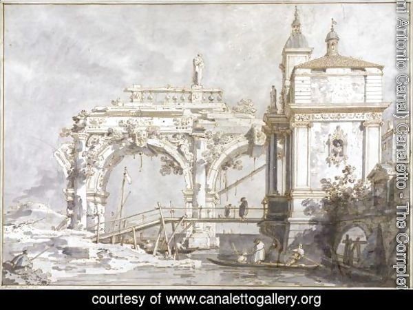 An Architectural Capriccio With A Pavilion And A Ruined Arcade On The Water's Edge