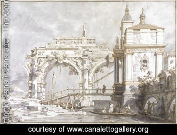 (Giovanni Antonio Canal) Canaletto - An Architectural Capriccio With A Pavilion And A Ruined Arcade On The Water's Edge