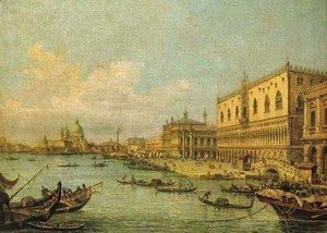 (Giovanni Antonio Canal) Canaletto - The Molo, Venice, looking West with the Ducal Palace