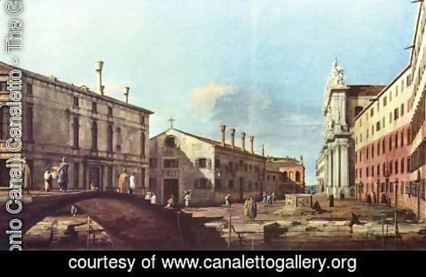 (Giovanni Antonio Canal) Canaletto - Il Campo dei Gesuiti e la Chiesa a Venezia (square and church of the Jesuits) in 17th century. Now.