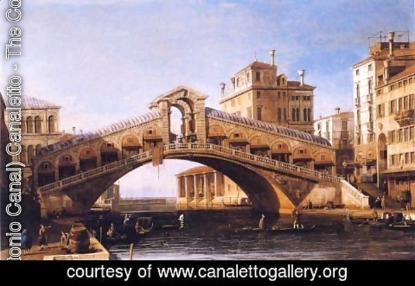 (Giovanni Antonio Canal) Canaletto - Capriccio of the Rialto Bridge with the Lagoon Beyond