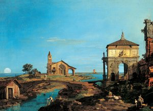 (Giovanni Antonio Canal) Canaletto - An Island in the Lagoon with a Gateway and a Church