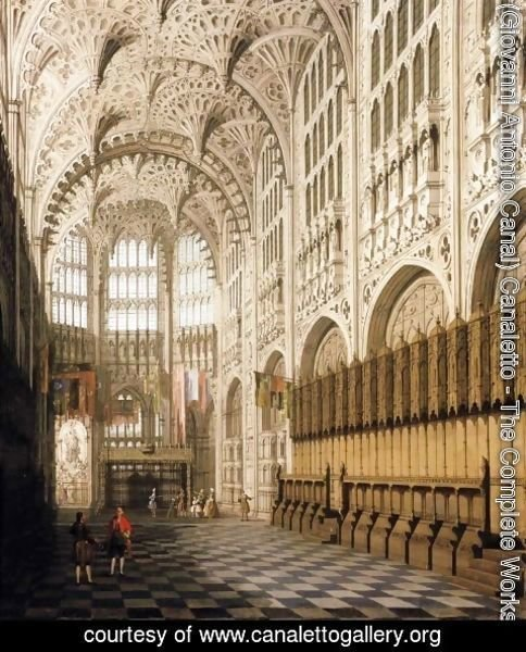 (Giovanni Antonio Canal) Canaletto - The Interior of Henry VII Chapel in Westminster Abbey