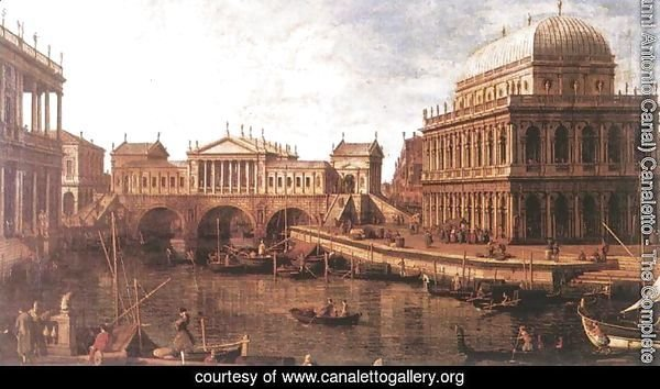 Capriccio- a Palladian Design for the Rialto Bridge, with Buildings at Vicenza 1740s