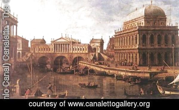 (Giovanni Antonio Canal) Canaletto - Capriccio- a Palladian Design for the Rialto Bridge, with Buildings at Vicenza 1740s