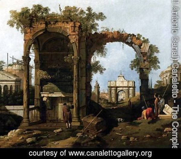 (Giovanni Antonio Canal) Canaletto - Capriccio  Ruins and Classic Buildings 1730s