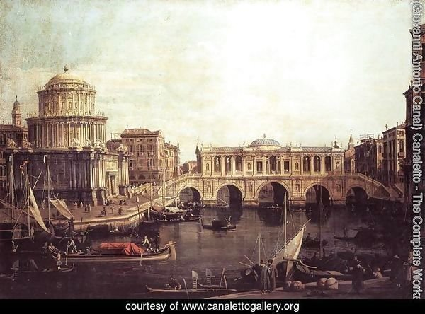 Capriccio   The Grand Canal, with an Imaginary Rialto Bridge and Other Buildings 1740s