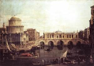 (Giovanni Antonio Canal) Canaletto - Capriccio   The Grand Canal, with an Imaginary Rialto Bridge and Other Buildings 1740s