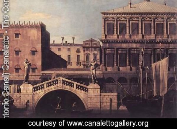 (Giovanni Antonio Canal) Canaletto - Capriccio   The Ponte della Pescaria and Buildings on the Quay 1742-44