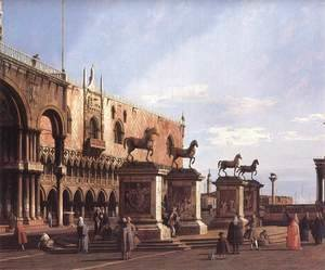 (Giovanni Antonio Canal) Canaletto - Capriccio  The Horses of San Marco in the Piazzetta 1743