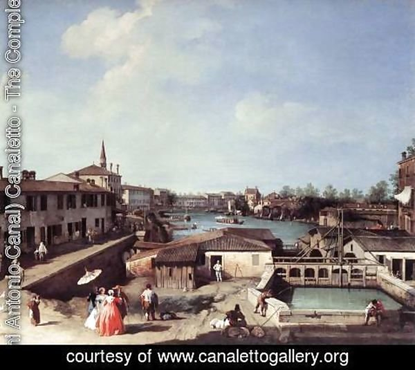 (Giovanni Antonio Canal) Canaletto - Dolo on the Brenta c. 1730-35
