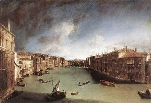 (Giovanni Antonio Canal) Canaletto - Grand Canal    Looking Northeast From Palazo Balbi Toward The Rialto Bridge