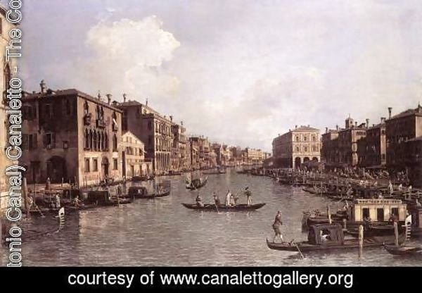 (Giovanni Antonio Canal) Canaletto - Grand Canal   Looking South East From The Campo Santa Sophia To The Rialto Bridge