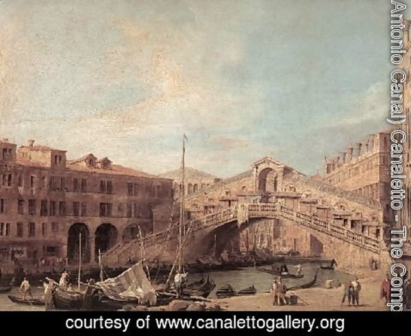 (Giovanni Antonio Canal) Canaletto - Grand Canal   The Rialto Bridge From The South