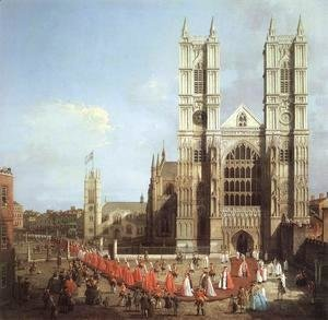 (Giovanni Antonio Canal) Canaletto - London   Westminster Abbey With A Procession Of Knights Of The Bath 1749