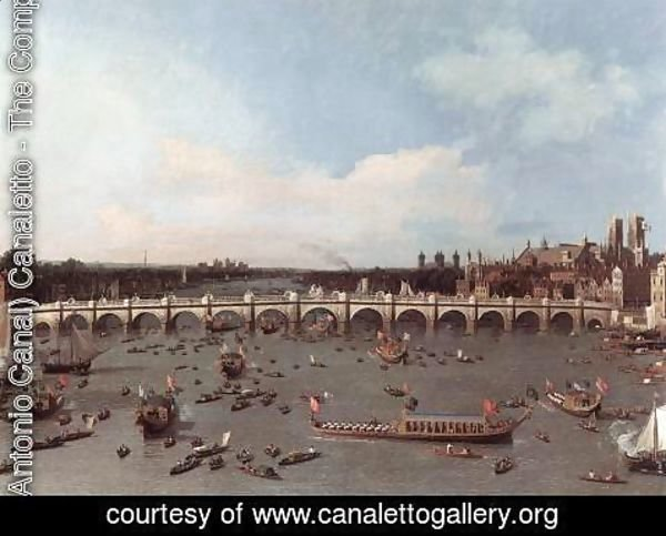 (Giovanni Antonio Canal) Canaletto - London Westminster Bridge From The North On Lord Mayors Day