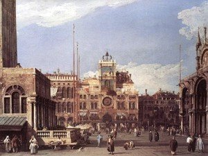 (Giovanni Antonio Canal) Canaletto - Piazza San Marco   The Clocktower 1729