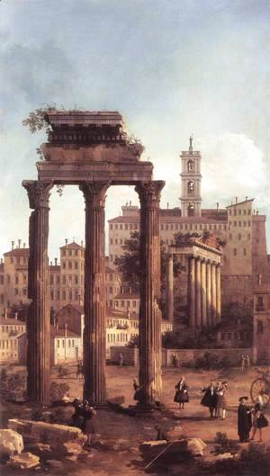 (Giovanni Antonio Canal) Canaletto - Rome   Ruins Of The Forum Looking Towards The Capitol