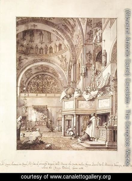 (Giovanni Antonio Canal) Canaletto - San Marco   The Crossing And North Transept With Musicians Singing
