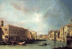 (Giovanni Antonio Canal) Canaletto - The Grand Canal From Rialto Toward The North