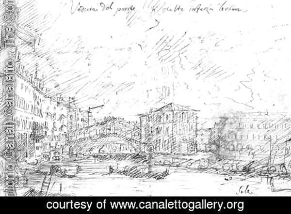 (Giovanni Antonio Canal) Canaletto - The Grand Canal Near The Ponte Del Rialto