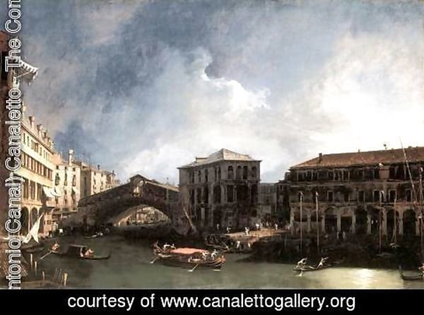 (Giovanni Antonio Canal) Canaletto - The Grand Canal Near The Ponte Di Rialto