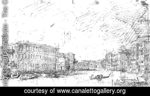 (Giovanni Antonio Canal) Canaletto - The Grand Canal Seen From Rialto Toward The North