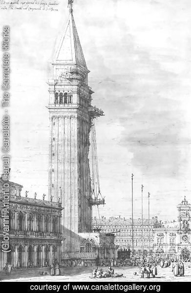(Giovanni Antonio Canal) Canaletto - The Piazzetta Looking North The Campanile Under Repair