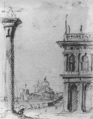 (Giovanni Antonio Canal) Canaletto - The Piazzetta Looking Towards S  Maria Della Salute