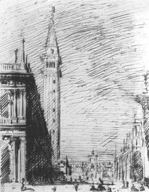 (Giovanni Antonio Canal) Canaletto - The Piazzetta Looking Towards The Torre Dell Orologio