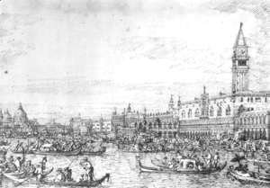 (Giovanni Antonio Canal) Canaletto - Venice   The Canale Di San Marco With The Bucintoro At Anchor