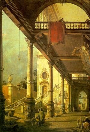 (Giovanni Antonio Canal) Canaletto - Capriccio  A Colonnade Opening onto the Courtyard of a Palace 1765