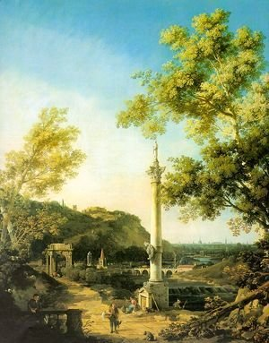 (Giovanni Antonio Canal) Canaletto - Capriccio- River Landscape with a Column, a Ruined Roman Arch and Reminiscences of England 1754