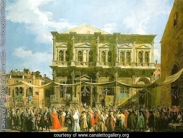 Venice- The Feast Day of St. Roch (The Doge Visiting the Church and the Scuola di San Rocco) 1735