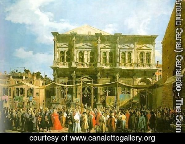 (Giovanni Antonio Canal) Canaletto - Venice- The Feast Day of St. Roch (The Doge Visiting the Church and the Scuola di San Rocco) 1735