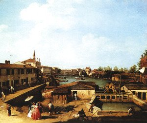 (Giovanni Antonio Canal) Canaletto - Lock at Dolo, on the Brenta